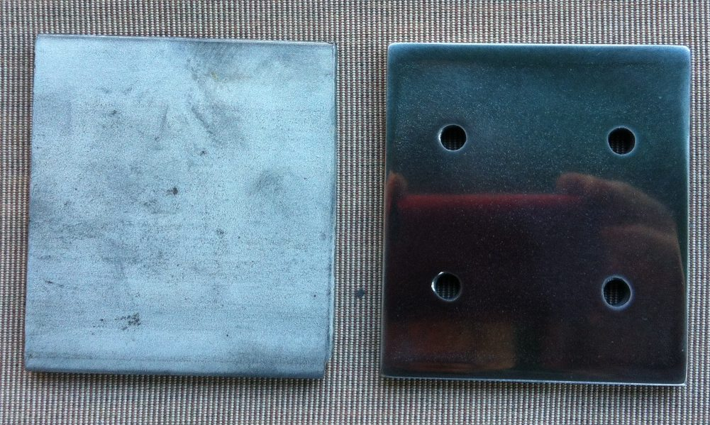The unpolished plate compared to the polished plate