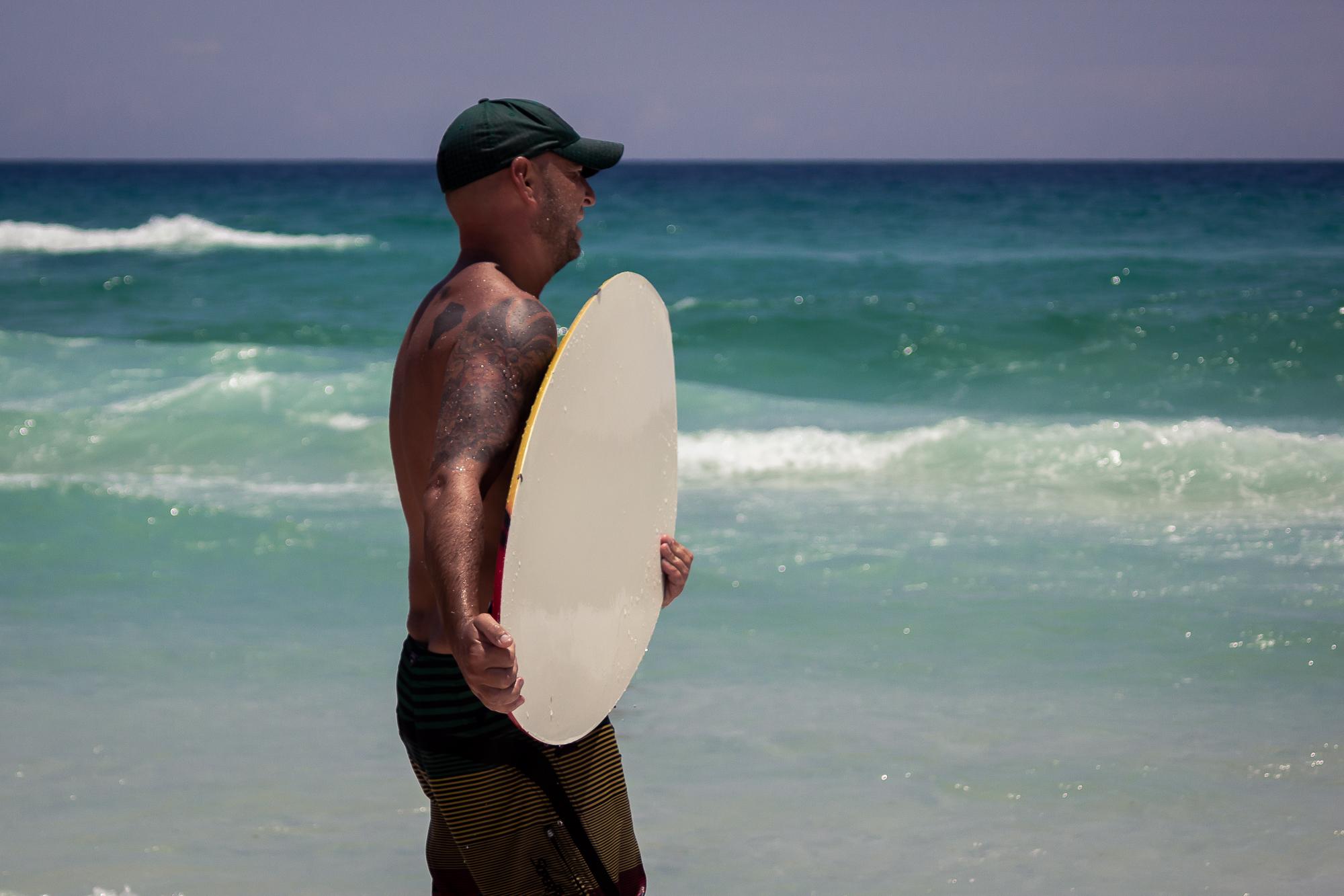 Wakeboarder on the beach in Destin, FL.