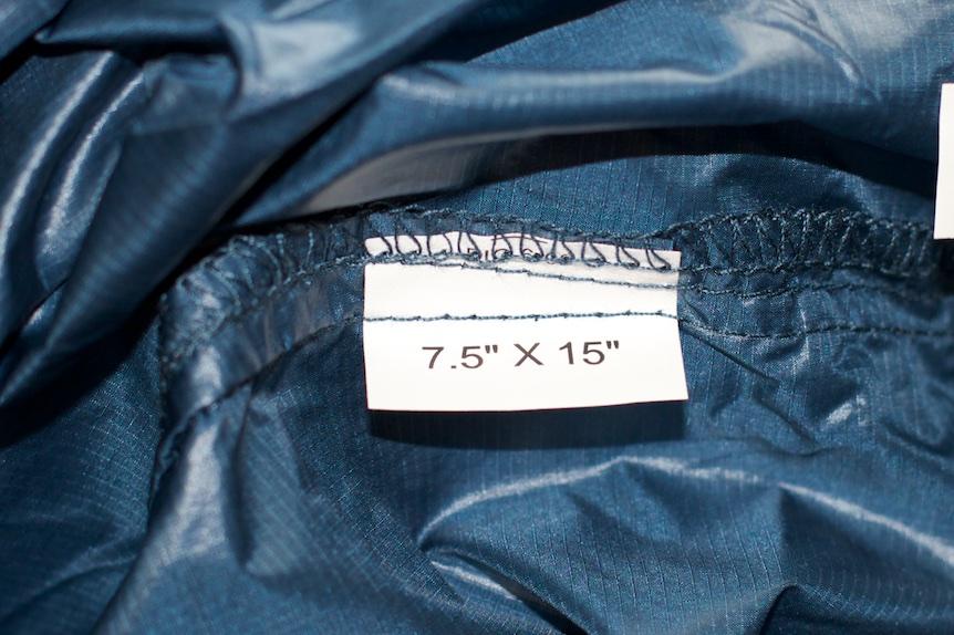 Big Agnes Flume UL 30 Stuff Sack Dimensions